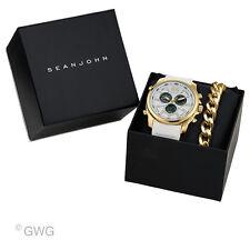 Sean John Analog Digital Chronograph White Silicone Men's Watch Bracelet Set SPO