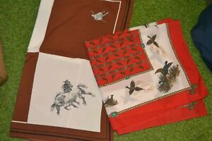 HORSE SCARVES X 2 1 HORSE THEME ONE PHEASANT THEME TO CLEAR