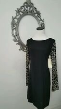 $465.00 Nicole Miller Black Cocktail Sleeves Dress Size 6 NEW