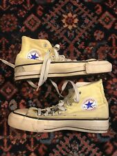 Vintage Converse 70s 80s High Top Yellow Fat Laces Made In Usa 6 Rare
