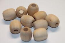 10x Holzperlen - Holzkugeln - 18x20 mm - oval - Birke natur - nicht lackiert