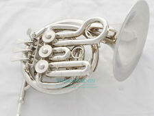Concert Bands French Horn Silver Nickel Plated Mini Horn BRAND NEW & mouthpiece