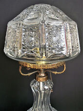 Signed HAWKES American Brilliant CUT GLASS TABLE LAMP HOBSTAR PANEL ABP CRYSTAL