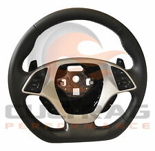 2014-2019 C7 Corvette D Shaped Steering Wheel Automatic Leather Gray Stitching