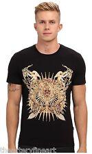 JUST CAVALLI Uomo Men's Designer Gold Foil Graphic T-Shirt S Black **NWT**