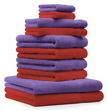 Betz lot de 10 serviettes Premium: rouge & violet, 100% coton