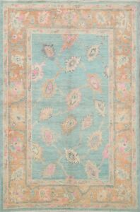 Vegetable Dye Geometric Floral Oushak Turkish Oriental Hand-Knotted Area Rug 5x7