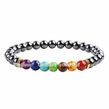 Fashion 6mm Magnetite 7 Chakra Gemstones Beads Healing Point Stretch Bracelet