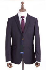 Men's Burgundy Check Suit Tailored Fit Scott By The Label 44R W36 L29