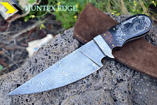 HUNTEX Handmade Damascus Hunting Hand Scrimshawed Art Red Indian Engraved Knife