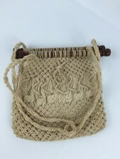 Boho Ivory Crochet Woven Macrame Hippie Shoulder Bag Purse Shabby Victorian Chic