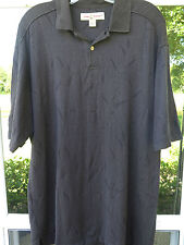 Tommy Bahama Short Sleeve Silk Cotton Black Textured Bamboo Polo Shirt Large