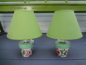 PAIR POTTERY BARN GARDEN PLANT FLORAL FLOWER POT SIDE END TABLE NIGHTSTAND LAMPS