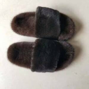 Full Cover Real Mink Fur Slides Slippers Flat Sandals Shoes
