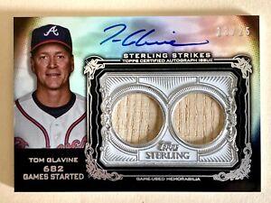 2020 Topps Sterling Tom Glavine Auto Dual Relic Bat 13/25 Atlanta Braves 682 GS