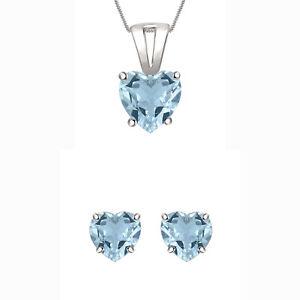 2Ct Heart  Aquamarine Solitaire Earring & Pendant Bridal Set 14k White Gold Over
