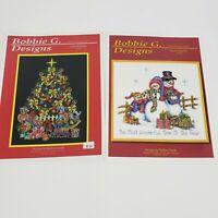 2 Bobbie G. Design Cross Stitch Charts Anticipation A114 Snow family SF104