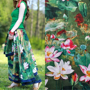 50x145cm Cotton Linen Fabric For DIY Girl Dress Chinese Painting Lotus Green S14