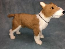 """Realistic Vintage Red and White Male Dog Genuine Goat Fur collar 10 1/2"""" x 14"""""""