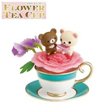 RE-MENT Rilakkuma Flower Tea Cup Figure #6 Korilakkuma Sweet Pea & Peony Present