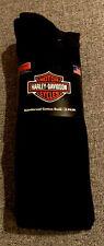Men's Harley Davidson 20% Merino Wool Blend Riding Socks 2 Pair Size Large Black
