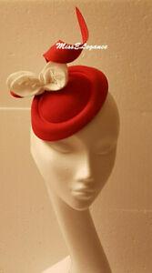 Fascinato, # fascinator Hat felt fascinator White leave.Red,Brown,Blue ASCOT hat