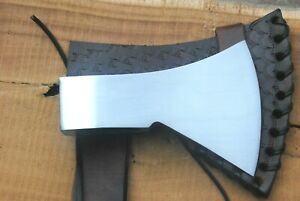 Custom Handmade Forged Tomahawk Style Head with Leather Cover