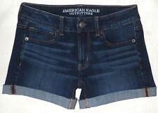 American Eagle size 2 Midi Jean Shorts 360 Super Stretch AEO Denim x4 EUC~Wow