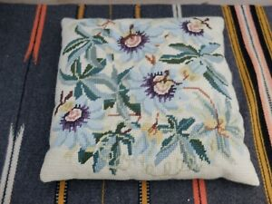 VINTAGE  SHABBY FLORAL TAPESTRY CUSHION - SMALL