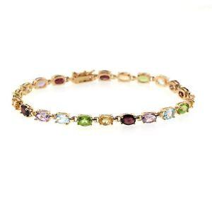 multi-color genuine gemstone tennis bracelet in 14k gold over sterling silver
