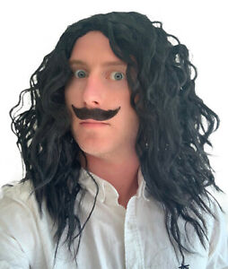 Men's Black Wavy Fancy Dress Wig and Pointed Style Moustache set. UK Seller