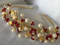 PEARL & CRYSTAL HAIRBAND TIARA BRIDE PROM BRIDESMAID U CHOOSE SWAROVSKI COLOURS