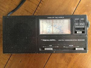 Vintage Realistic DX-360 AM-FM-LW-Short Wave 9-Band Portable Radio