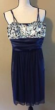 Speechless Dark Blue Silver Sequin Party Cocktail Evening Prom Mini Dress Sz S