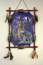 Native American With Wolves Picture Dream Catcher Canvas 18 x 22 Feathers Framed