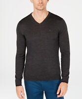 Calvin Klein Men's Solid Extra-Fine Merino V-Neck Sweater, Size L