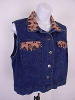 Stonebridge Petites Denim Vest Women's Blue Size PM Medium Petite 100% Cotton