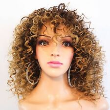 """Synthetic Kinky Curly Brown Blonde Ombre Wig 12"""""""