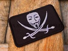 GUY FAWKES MASK PIRATE PATCH Anonymous Skull Flag Morale Tactical Airsoft Badge