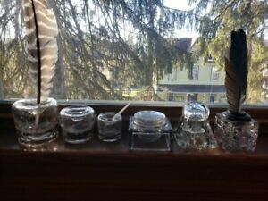 Lot Of Six Vintage Inkwells W Feather Pens and Bone pen.