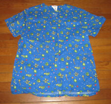 All Heart Size M Medium Blue Lady Bugs Fireflys Scrub Top V-Neck Nurse Dental