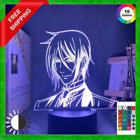 Acrylic Led Night Light Black Butler Figure Anime 3D Lamp Bedroom Decor Gift