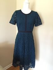 J.CREW COLLECTION GROSGRAIN LACE DRESS IN BLUE GREEN TEAL CYAN SIZE 6 NEW