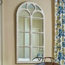"""Shabby Chic Distressed White Wood Window Mirror with Arched Top, 47.25"""" High"""