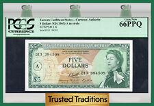"TT PK 14i 1965 EASTERN CARIBBEAN STATES 5 DOLLARS ""QUEEN ELIZABETH II"" PCGS 66"