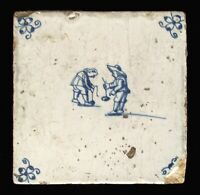 1640s Antique Delft Dutch Tile - Tin-glazed Earthenware - Search for Treasure