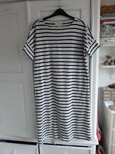 Seasalt Sailor T-Shirt Dress in Cream and Navy Stripe - 14 Organic Cotton