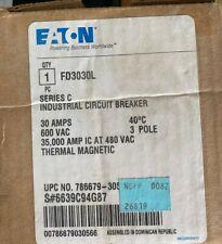 Eaton Fd3030L 30 Amp Circuit Breaker 600V 3P