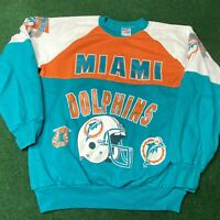 Vintage 80's Miami Dolphins Mens NFL Sweater Size Large Artex