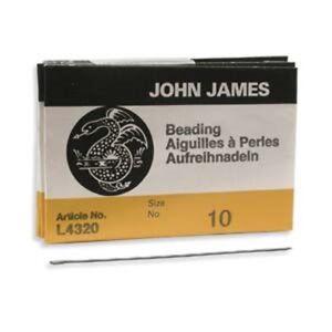 John James English Beading Needles---Sizes 10, 11, 12, 13, 15, 10 Shorts--25 PCS
